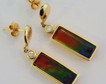 Bar Shaped 14K Yellow Gold Dangling Earrings with Canadian Ammolite and Diamonds.