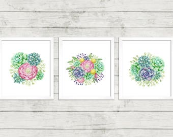 Printable art, Three Lovely Succulents, Watercolor Art, Cacti.