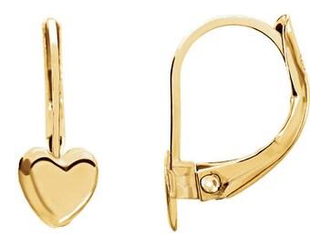 14K Yellow Heart Earrings