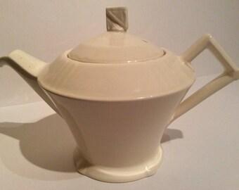 Myott cream art deco teapot, vintage cream china teapot, Myott china teapot, cream china teapot