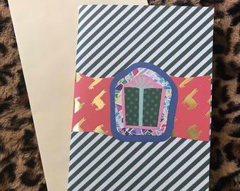 Green polka dot gift greeting card
