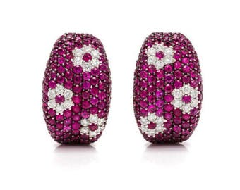 Last Call Liquidation!! 18,750 Rare Important 18kt White Large Ruby and Diamond Roberto Coin Earrings