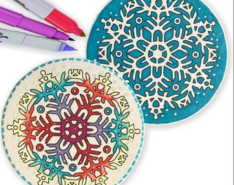 Snowflakes. Snowflake Coasters. Snowflakes to Color. Coloring  Coasters. Party Coasters. Housewarming Gift Ideas.