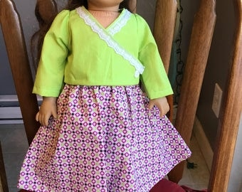"Shirt and skirt fits 18"" dolls such as American girl."