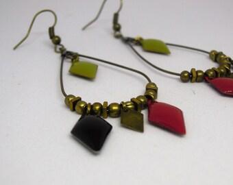 Drop earrings handmade/gift Burgundy/kaki/black/Hematite/dangling/diamond/geometric/bronze/made for women