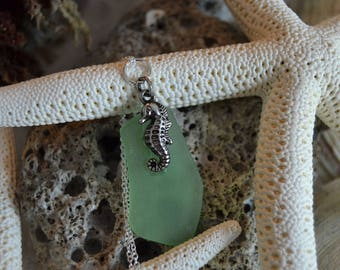 Seahorse on Green Sea Glass
