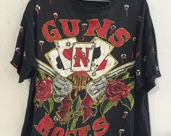 Vintage Rare 1991 Guns N Roses Band T Shirt All Over Print XL