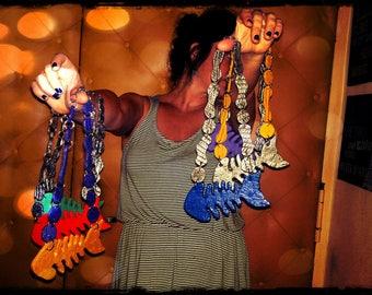 Biodegradable latex necklaces, handmade, artistic, part, artist