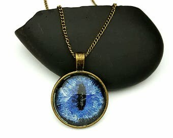 Glow in the Dark Dragon Eye Pendant/ Blue Eye Necklace/ Bronze Necklace/ Gifts For Women/ Gift Ideas/ Fantasy Jewelry/ Hand Painted Jewelry