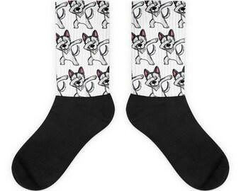 Funny Dabbing Husky Socks, Cute Husky Gift, Siberian Husky Dog Dab Dance Print