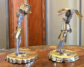 Folk Art Metal Figures Man, Woman & Baby