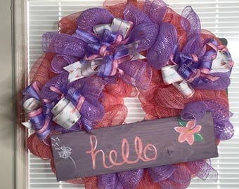 Spring Wreath, Front door wreath, Hello Spring, Long lasting design, free shipping