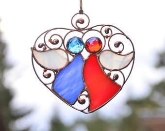 Stained glass angels, anniversary gift, heart suncatcher, romantic gift, love gift, stained glass ornaments, wire ornaments, love decor