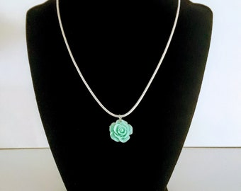 Mint Rose Flower Pendant Necklace Fashion Jewelry