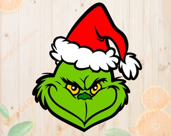 The Grinch Svg, Christmas Grinch Face Cutfile, Layered Christmas The Grinch Dxf, Eps & Png files for Cricut/Silhouette. The Grinch Clipart
