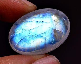 60% Off Natural Rainbow Moonstone Cabochon - Moonstone Gemstone - Loose Moonstone - Moonstone Jewelry 26.60Crt, 26X18X7mm AAA+++ sf714