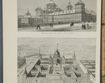 Fire at the Escurial Palace. The Monastery, Bird's Eye View of the Palace. Large Antique Engraving. 1872