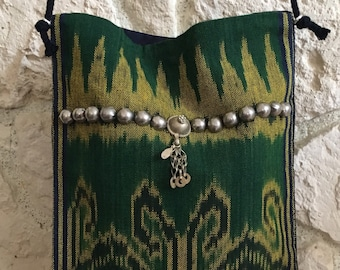 Shoulder bag hand woven Sasak style with tribal accents woven traditional Sasak style