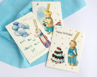 Greeting Card|Watercolor Card|Bunny With Scooter|Hare With a Balloon|Hare With a Cake|Happy Birthday|Set of 3 Card|Bunny watercolor|Cards