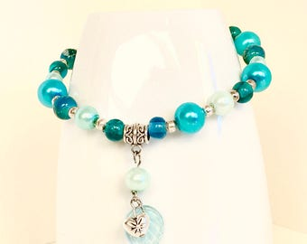 Blue Beaded Pearl Bracelet | Blue Bracelet | bohemian blue bracelet | Heart Bracelet | Heart Charm | Adjustable bracelet | Leaf Charm