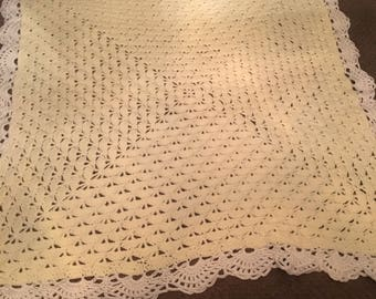 Light Yellow Crochet Shell Stitch Baby Blanket