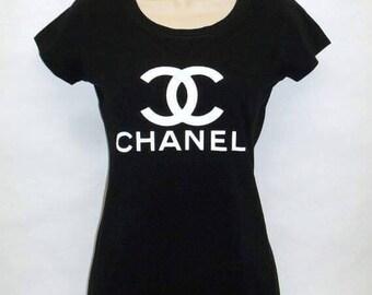 chanel shirt. chanel classic logo women top , t shirt tee inspired coco s
