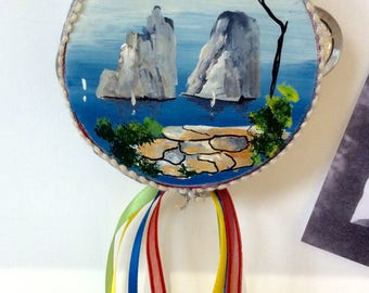 Tambourine the faraglioni of Capri hand painted in oils