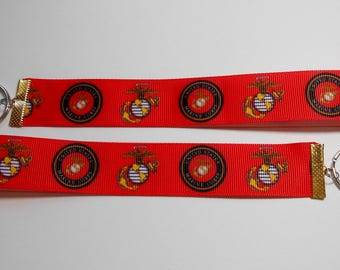 US Marine Corps Ribbon Keyrings-Red