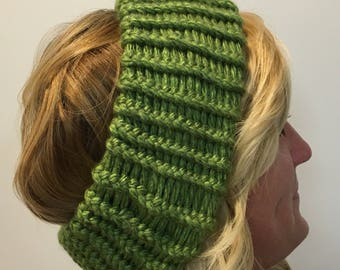Olive Green Knitted Ear Warmer