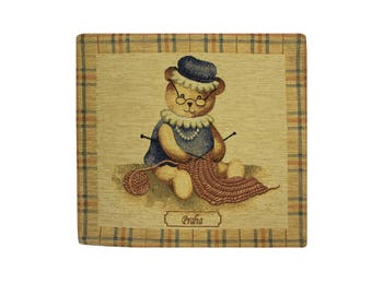Tapestry Cushion Cover / Bear Pillow Cover / Tapestry Pillow / Gobelin Cushion Cover / Decorative Pillow / Vintage Tapestry