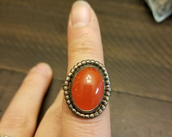 Red agate Sterling silver ring