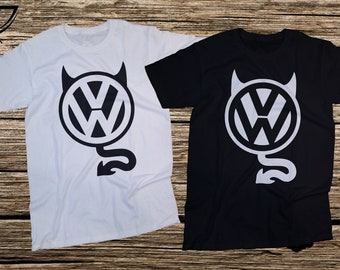 VW logo devil white and black tshirt,T-shirts for men and girls,Gift tee german cars,VW golf