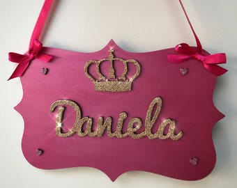 Personalised girls name plaque
