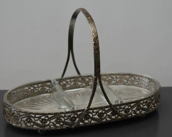 silver metal basket and cups glass art deco servant compartment vintage vintage years 60 france beggar art