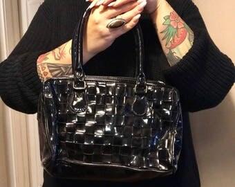 Faux Patent Leather Basket Weave Handbag