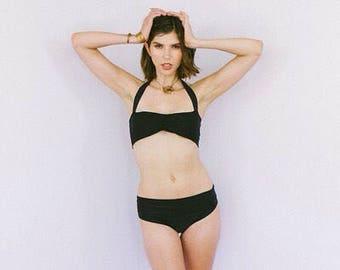 Bikini bottom-with foldover waistband - black