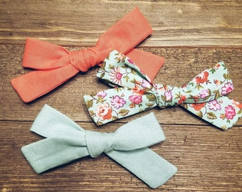 Spring Awakening | Handmade Cotton Baby Hair Bow Set of 3