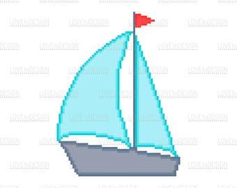 Boat, Boat illustration, Boat Pixelart, Png, Eps, Jpg, Boad Digital, Printable, Pixel art