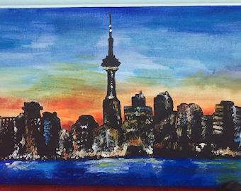 City silhouette acrylic painting