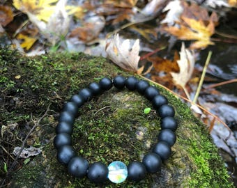 Black Agate with Clear Glass Center Bead
