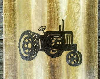 Rustic farm Tractor wood acrylic oil painting 8×8 canvas home decor sign