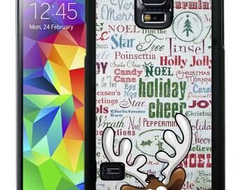 Christmas Rubber Case For Samsung S5, S6, S6 edge, S6 Edge Plus, S7, S7 Edge,  8, 8 plus -  Rudolph Text