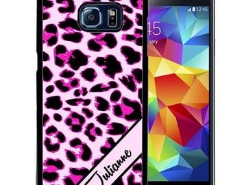 Personalized Rubber Case For Samsung Note 3, Note 4, Note 5, or Note 8- Pink Leopard Cheetah