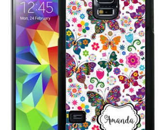 Personalized Rubber Case For Samsung Note 3, Note 4, Note 5, or Note 8- Wildly Colorful Butterflies