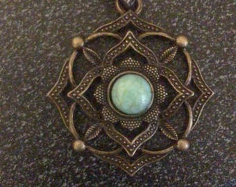 Gypsy  Spirit. Bronze sunflower pendant with turquoise and gold stone. Bronze chain necklace. Women girls. Boho hippie