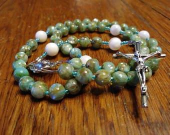 Catholic Rosary - Natural River Shell Bead, Green, Small Rosary, Semi-Precious, Heirloom Quality, 5 Decade Rosary, Flex Wire