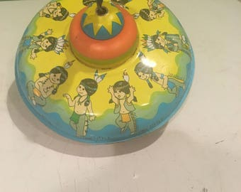 Vintage One Little Two Little Three Little Indians metal spinning top