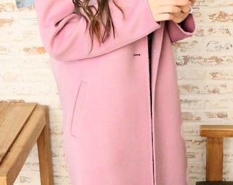 Pink wool Coat,  wool jacket, coats, wool coat, women wool coat, Pink coat