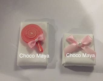 Lollipop and bow ~ Decorated Belgian Chocolate Favors ~ Baby Girl Favors ~ Baby Shower Favors