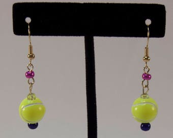 What A Racket - Neon Tennis Ball Sport Earrings